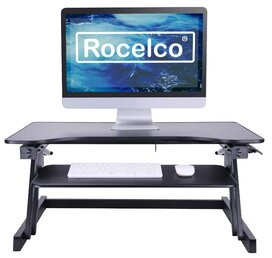 Rocelco Large Retractable Keyboard Tray Height Adjustable Standing Desk Converter Symple Stuff Color: Black