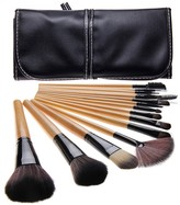 Bliss & Grace 15-Piece Professional Makeup Brush Set with Handy Vegan Leather Travel Case - Wood
