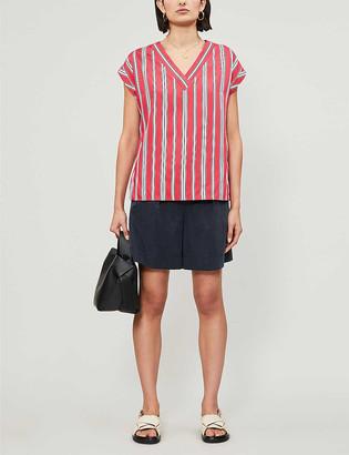 Claudie Pierlot Brendae stripe-print V-neck satin top