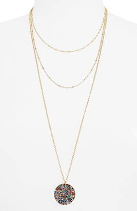 BP Triple Layer Stone Pave Coin Necklace