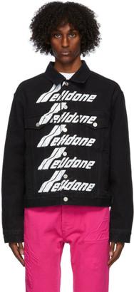 we11done Black Denim Front Logo Jacket
