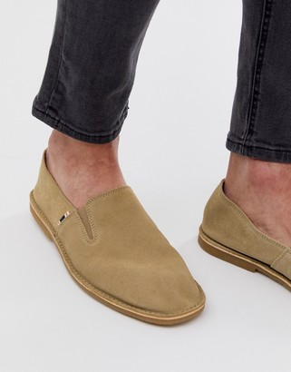 Jack and Jones suede loafer in tan