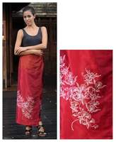 Handcrafted Silk Sarong, 'Bright Blossoms'