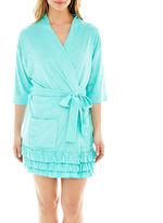 Asstd National Brand Coeur d' Alene 3/4-Sleeve Ruffled Robe