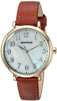 Armitron Women's Quartz Metal and Leather Dress Watch, Color:Brown (Model: 75/5404MPGPBN)