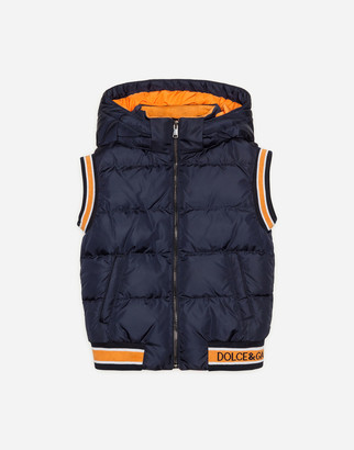 Dolce & Gabbana Sleeveless Nylon Down Jacket With Hood