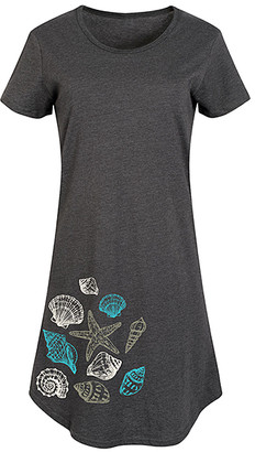 Instant Message Women's Women's Tee Shirt Dresses HEATHER - Heather Charcoal Seashells Short-Sleeve Dress - Women & Plus