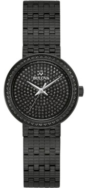 Bulova Women's Phantom Black Stainless Steel Bracelet Watch 28mm, Created for Macy's