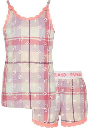 River Island Girls pink check pyjamas