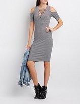 Charlotte Russe Striped Lattice Cold Shoulder Dress