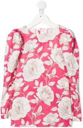 MonnaLisa TEEN floral-print crew neck blouse
