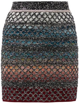 Missoni Sequinned Wool-blend Mini Skirt - Blue Multi
