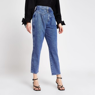 River Island Womens Blue double button slim tapered leg jeans
