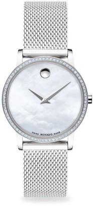 Movado Pave Diamond Stainless Steel Mesh Bracelet Watch