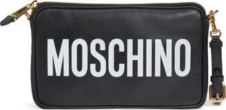 Moschino Logo Leather Clutch