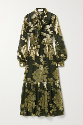 Saint Laurent Pussy-bow Metallic Floral-embroidered Silk-blend Chiffon Midi Dress - Green