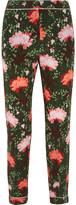 Erdem Giulia Floral-print Silk-satin Straight-leg Pants - Green
