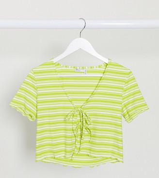 Asos DESIGN Petite tie front cap sleeve top in rib stripe