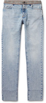 Maison Margiela Re-Edition Slim-Fit Check-Trimmed Washed-Denim Jeans