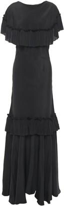 Marni Pleated Crepe De Chine Maxi Dress