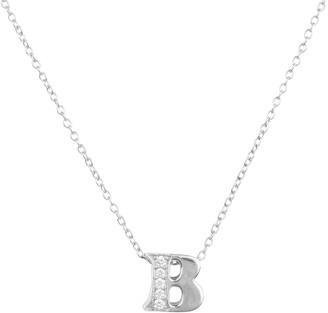 Latelita Diamond Initial Letter Pendant Necklace Silver B