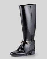 Burberry Rubber Chain-Buckle Rain Boot, Black