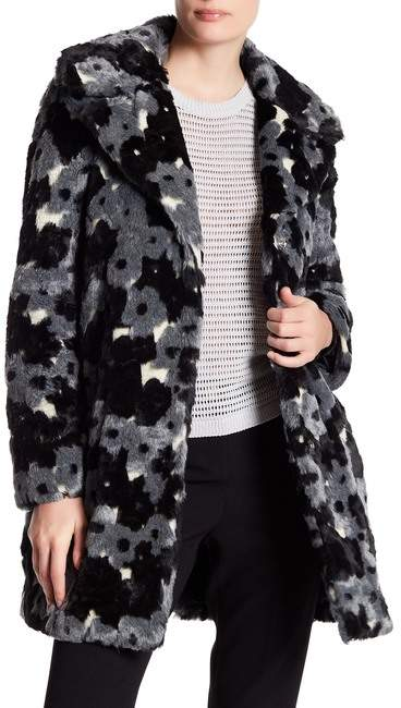 Betsey Johnson Faux Fur Floral Pattern Jacket