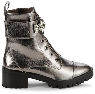 Karl Lagerfeld Paris Prim Embellished Faux Leather Booties
