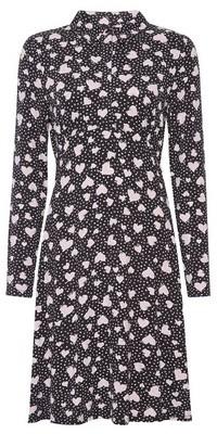 Dorothy Perkins Womens Pink Heart Print Jersey Shirt Dress