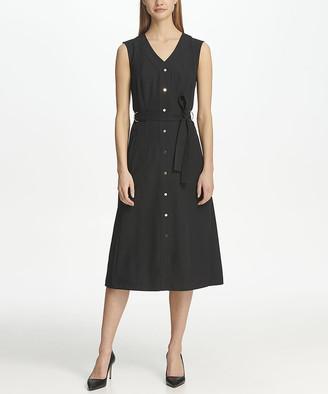 DKNY Women's Career Dresses BLACK - Black Button-Front V-Neck Midi Dress - Women