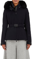 Moncler Women's Giubbotto Fur-Trimmed Belted Gabardine Jacket-NAVY
