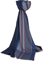 Johnstons of Elgin Wool Scarf With Sports Stripe - Blue WIth Red & Yellow