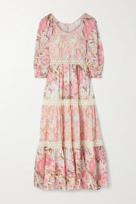 LoveShackFancy Evren Crocheted Lace-trimmed Floral-print Cotton And Silk-blend Maxi Dress - Pastel pink