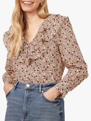 Warehouse Floral Swirl Ruffle Front Top, Multi