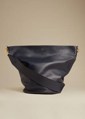 KHAITE The Virginia Hobo in Navy Leather