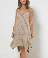 BEIGE Coline Women's Casual Dresses  Embroidered Handkerchief Dress - Women & Plus