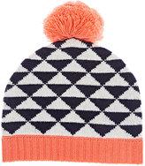 Barneys New York Pom-Pom Cashmere Hat-WHITE, NAVY, PINK, NO COLOR