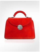 Ladies' Cherry Red Classic Leather Flap Handbag