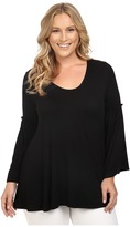 Christin Michaels Plus Size Edrielle Bell Sleeve Top