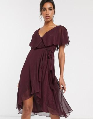 Asos Design DESIGN cape back dipped hem midi dress in metallic stripe-Purple