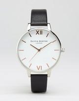 Olivia Burton White Dial & Black Leather Watch OB16BDW08