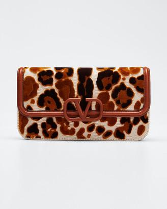 Valentino VSling Leopard Canvas Crossbody Bag