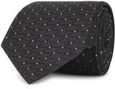 Armani Collezioni Black Grid-jacquard Silk Tie