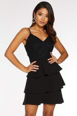Quiz Petite Black Glitter Lace V Neck Tiered Skater Dress