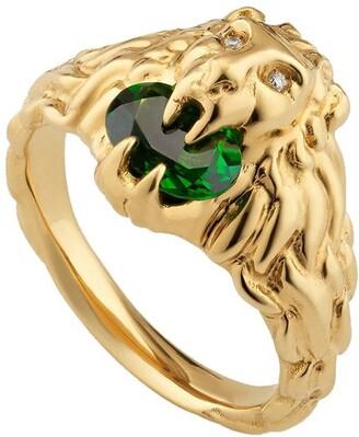 Gucci 18kt Yellow Gold Diamond Lion Head Ring