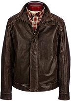 Roundtree & Yorke Mock Neck Pebbled Leather Jacket