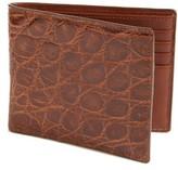 Boconi Men's Glazed Genuine Crocodile Wallet - Brown