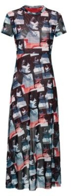 HUGO BOSS Midi Length Mesh Dress With All Over Graphic Print - Patterned