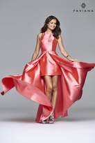 Faviana 7752 Frosted satin evening dress with attached split front overskirt