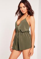 Missguided Crepe Strappy Back Detail Romper Green